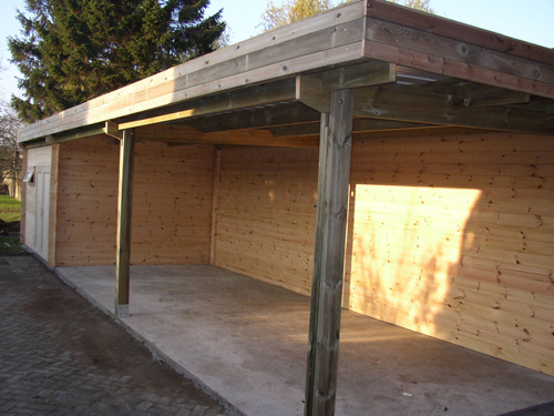 Carport toit simple abris de voiture en bois for Toit garage plat