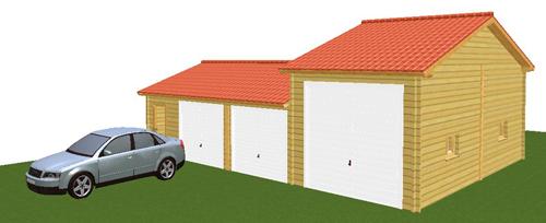 Double garage et garage camping car for Garage pour camping car en bois