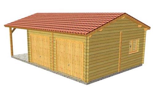 Garage bois double avec carport lat ral for Garage bois traite