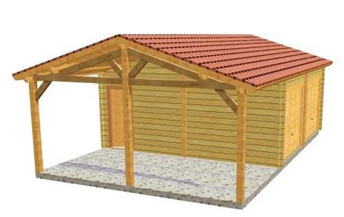 Garage bois double avec carport lat ral - Plan de carport en bois gratuit ...