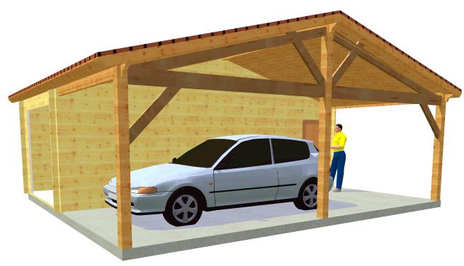 Auvent bois 1 pente image 150 for Garage avec auvent