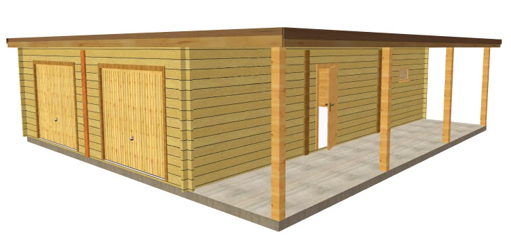 garage bois toit plat avec abris vehicule - Plan Garage Ossature Bois Toit Plat