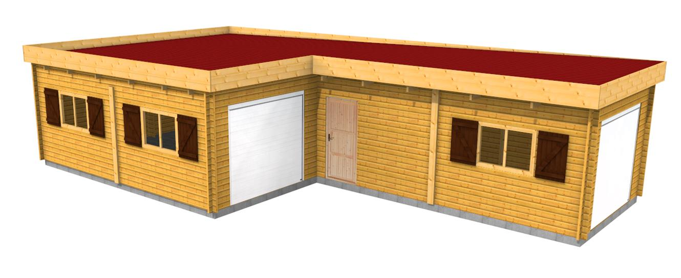Garage en bois une place toit plat for Toit garage plat