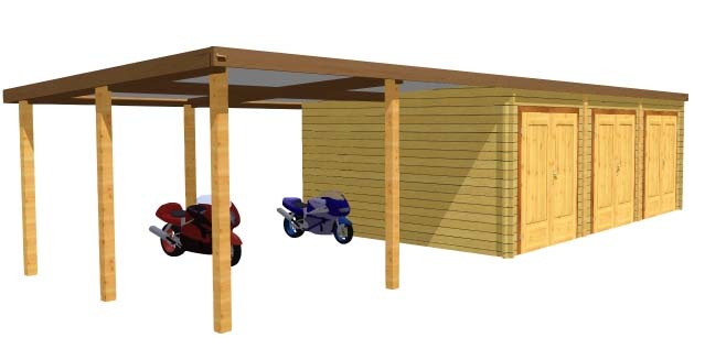 Garage bois double avec carport lat ral for Garage en bois en solde