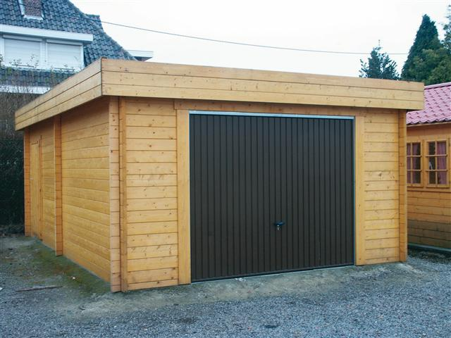 Garage en bois toit plat for Fabricant garage bois en kit