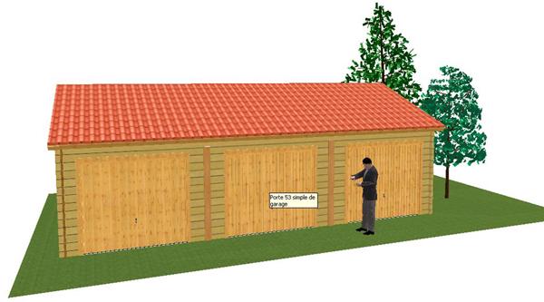 Garage pour triples voiture en madriers massif bois for Garage pour camping car en bois