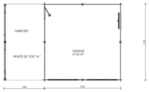 garage bois double avec carport lat ral. Black Bedroom Furniture Sets. Home Design Ideas