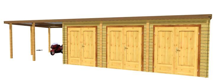 Garage bois double avec carport lat ral for Garage 3 voitures bois